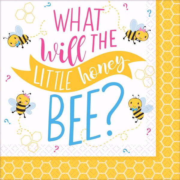 """Picture of 16 Servietten Babyshower """" What will the little honey bee?"""" Klein"""