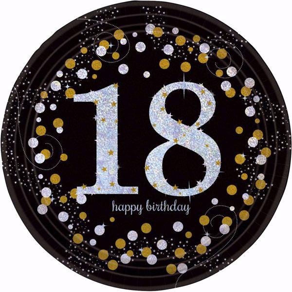 Bild von 8 Teller 18 Sparkling Celebrations Papier rund gold prismatisch 22,8 cm
