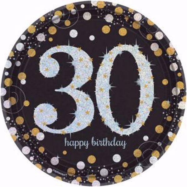 Bild von 8 Teller 30 Sparkling Celebrations Papier rund gold prismatisch 22,8 cm