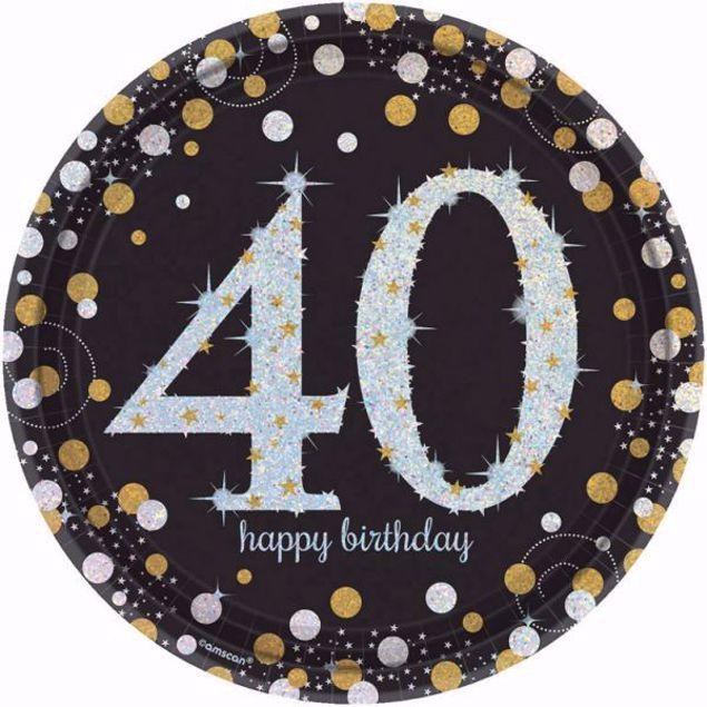 Picture of 8 Teller 40 Sparkling Celebrations Papier rund gold prismatisch 22,8 cm