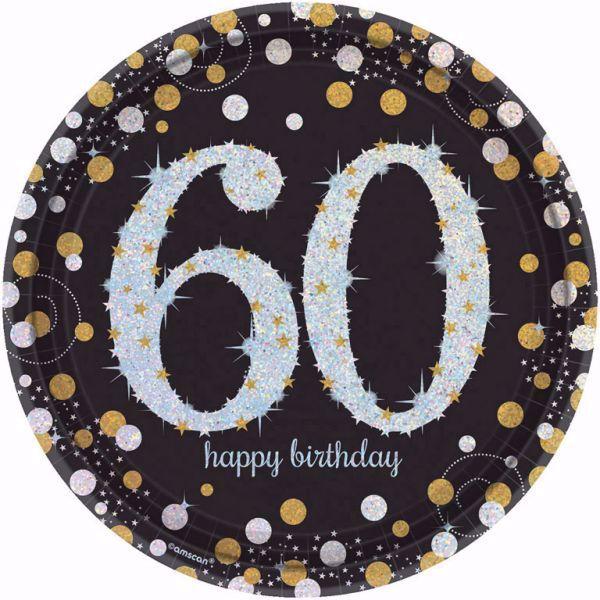 Bild von 8 Teller 60 Sparkling Celebrations Papier rund gold prismatisch 22,8 cm