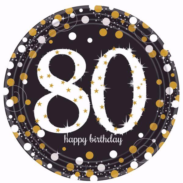 Picture of 8 Teller 80 Sparkling Celebrations Papier rund gold prismatisch 22,8 cm