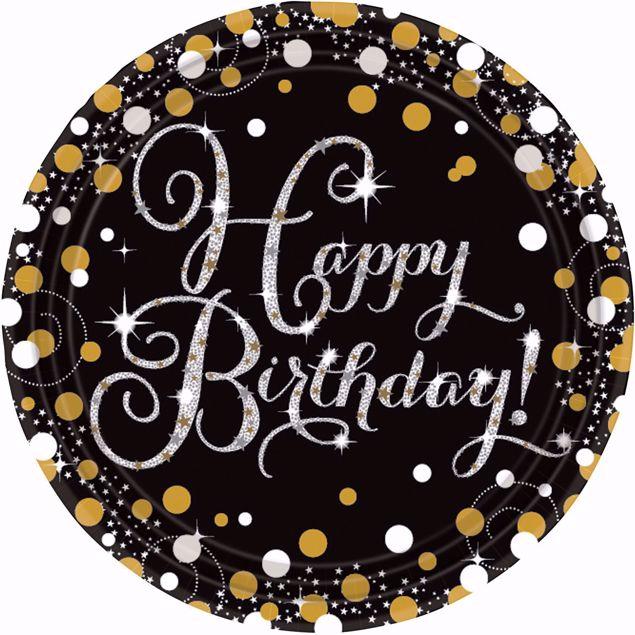 Picture of 8 Teller Happy Birthday Sparkling Celebrations Papier rund gold prismatisch 22,8 cm