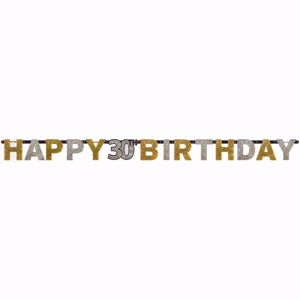 Bild von Partykette 30 Sparkling Celebration - Silver & Gold prismatisch