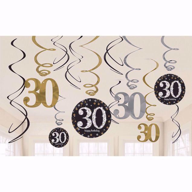 Bild von 12 Deko-Spiralen 30 Sparkling Celebration - Silver & Gold
