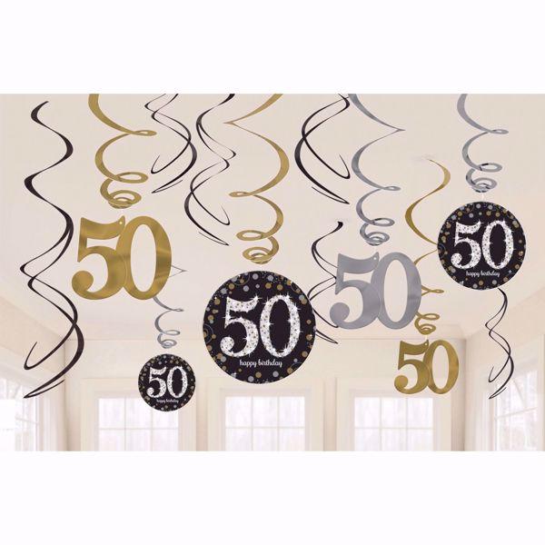 Bild von 12 Deko-Spiralen 50 Sparkling Celebration - Silver & Gold