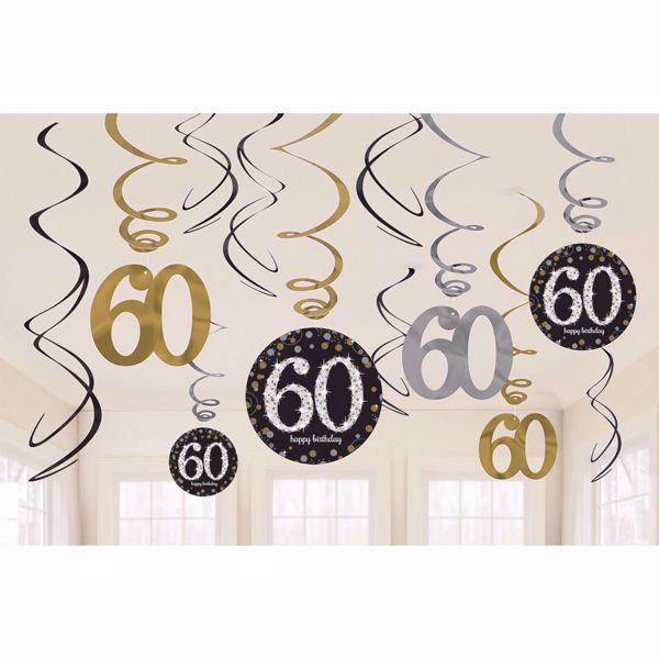Picture of 12 Deko-Spiralen 60 Sparkling Celebration - Silver & Gold