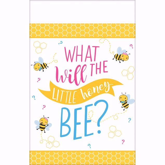 """Bild von Tischdecke Babyshower """" What will the little honey bee?"""" 140cm X 360cm"""