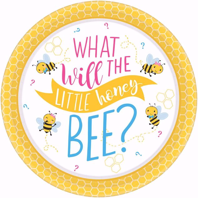 """Bild von 8 Teller """" What will this little honey bee?"""" Babyshower"""