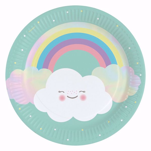 Picture of Teller Rainbow & Cloud Papier rund 22,8 cm