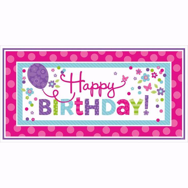Bild von Riesen-Partyschild Birthday Accessories - pink & türkis 165 x 85 cm