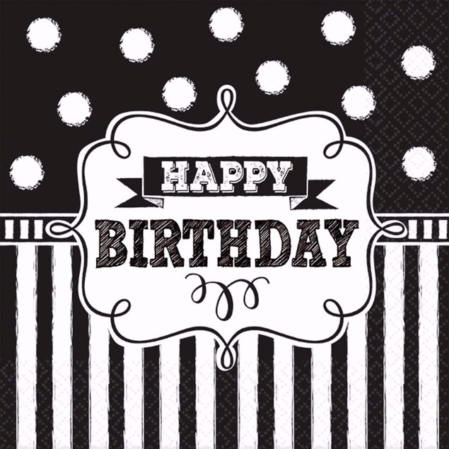 Picture of 16 Servietten Chalkboard Birthday 33 x 33 cm