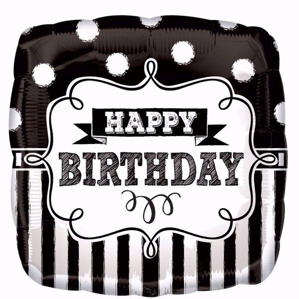 "Picture of Standard ""Chalkboard Birthday Party"" Folienballon Quadrat S40, verpackt, 43cm"