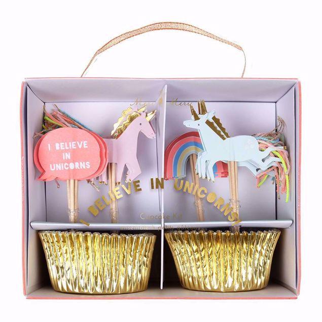 Picture of Einhorn Cupcake Muffin Set -I Believe In Unicorns Cupcake Kit 24 Stück