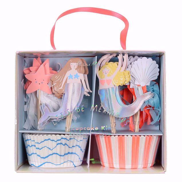 Bild von Meerjungfrau Cupcake Muffin Kit Set - Let's Be Mermaids Cupcake Kit 24 Stück