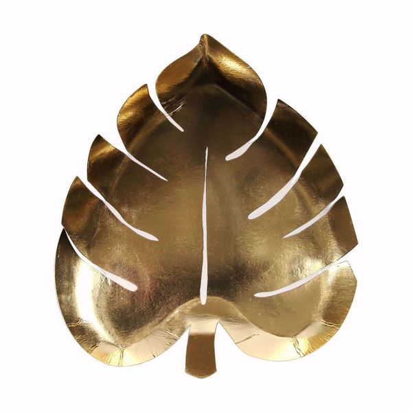 Bild von Palmenblatt Gold Partyteller - Gold Palm Leaf Plate 19 cm x 22 cm