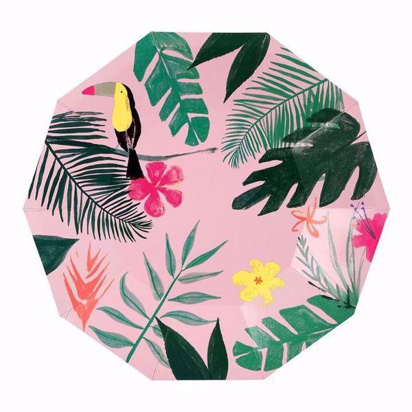 Bild von Pink Tropical Partyteller Groß 23 cm x 23 cm