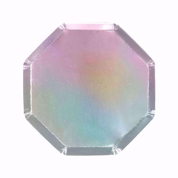 Bild von Silber Holographic Partyteller Party Plates 20cm x 20 cm