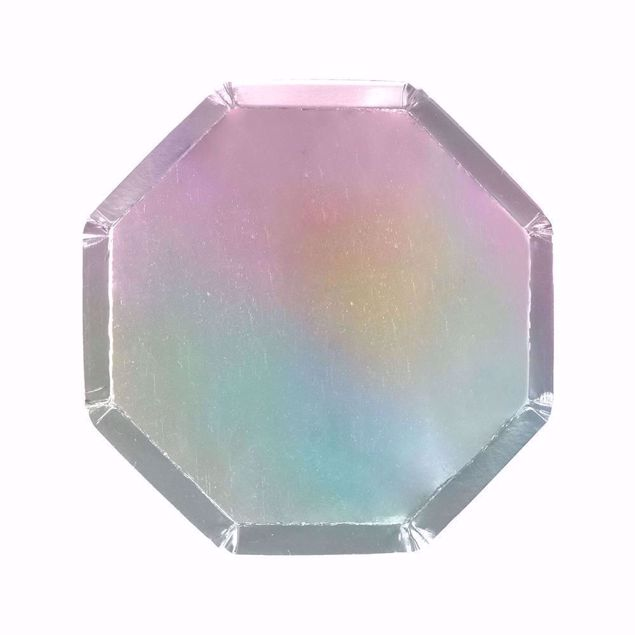 Picture of Silber Holographic Partyteller Party Plates 20cm x 20 cm