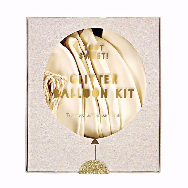 Bild von Latexballon Set Kit Weiß Gold Herz Glitter 8 Stück