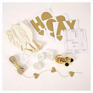 Picture of Latexballon Set Kit Weiß Gold Herz Glitter 8 Stück