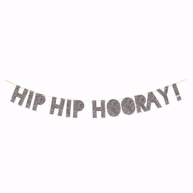Bild von Girlande Silber Glitzer Hip Hip Hooray