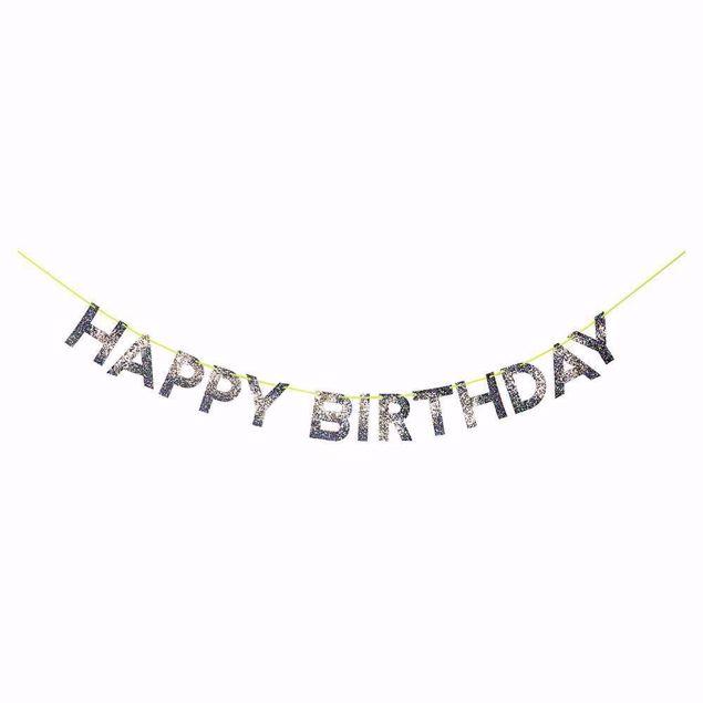 Bild von Girlande Happy Birthday Silber Garland