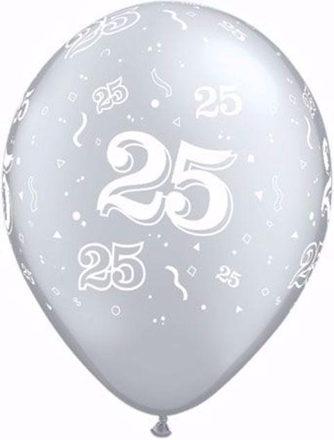 Bild von Latexballon 25 Geburtstag Silberne Hochzeit Silber 11 inch