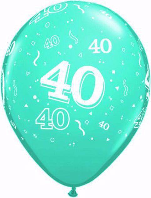 Bild von Latexballon 40 Geburtstag Türkis  11 inch
