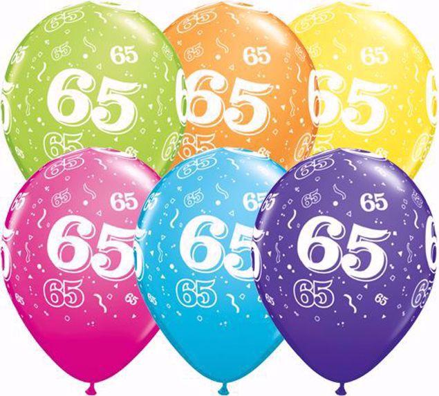 Bild von Latexballon 65 Bunt Geburtstag 11 inch