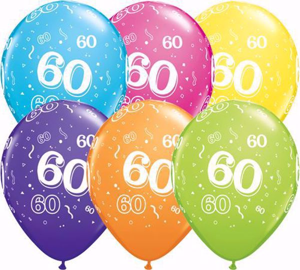 Bild von Latexballon 60 Bunt Geburtstag 11 inch