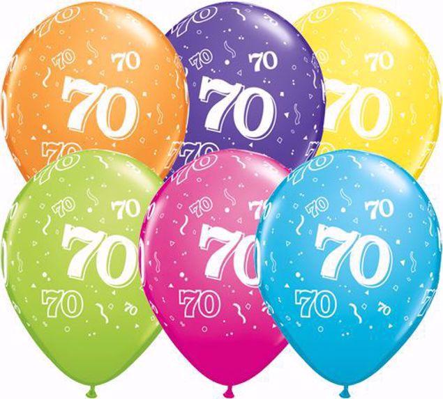 Bild von Latexballon 70 Bunt Geburtstag 11 inch