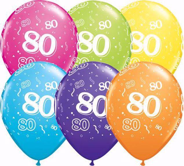 Bild von Latexballon 80 Bunt Geburtstag 11 inch