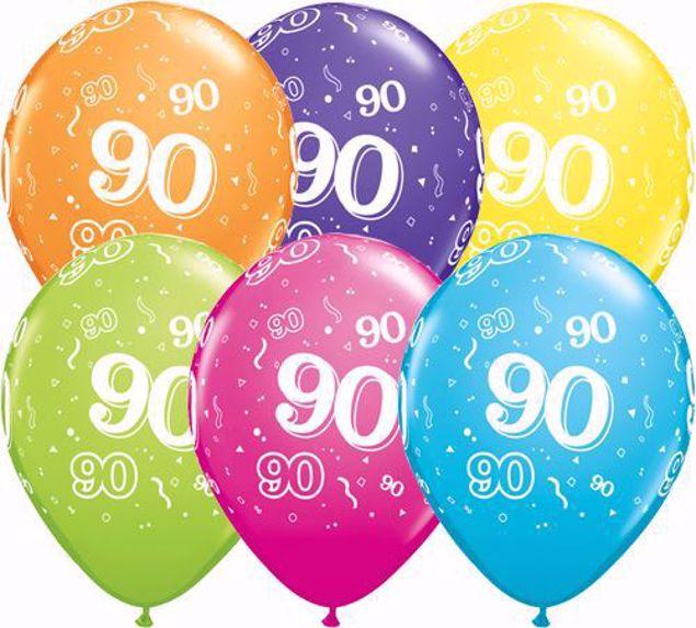 Bild von Latexballon 90 Bunt Geburtstag 11 inch