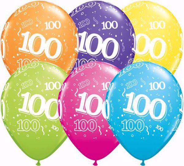 Picture of Latexballon 100 Bunt Geburtstag 11 inch