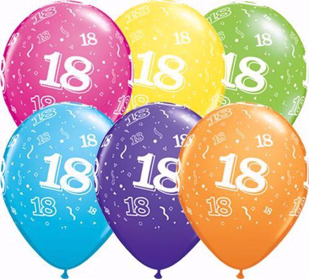Picture of Latexballon 18 Bunt Geburtstag 11 inch
