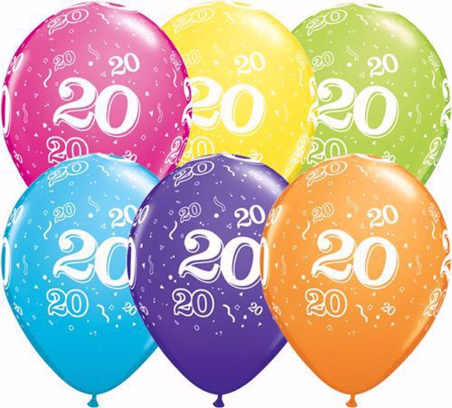 Picture of Latexballon 20 Bunt Geburtstag 11 inch