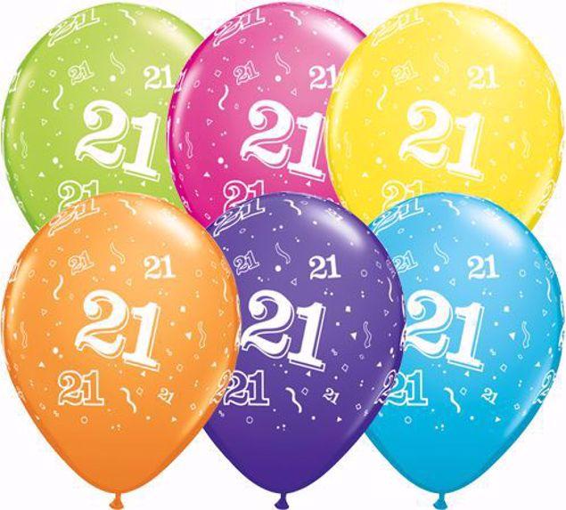 Bild von Latexballon 21 Bunt Geburtstag 11 inch
