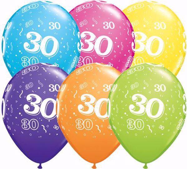 Picture of Latexballon 30 Bunt Geburtstag 11 inch