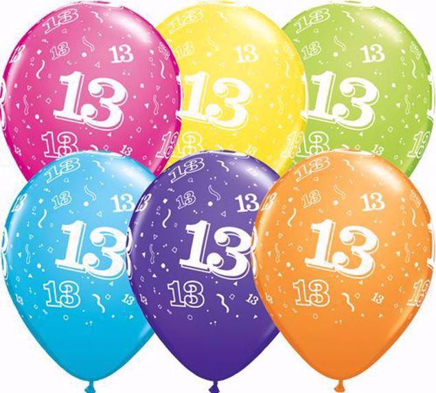Bild von Latexballon 13 Bunt Geburtstag 11 inch