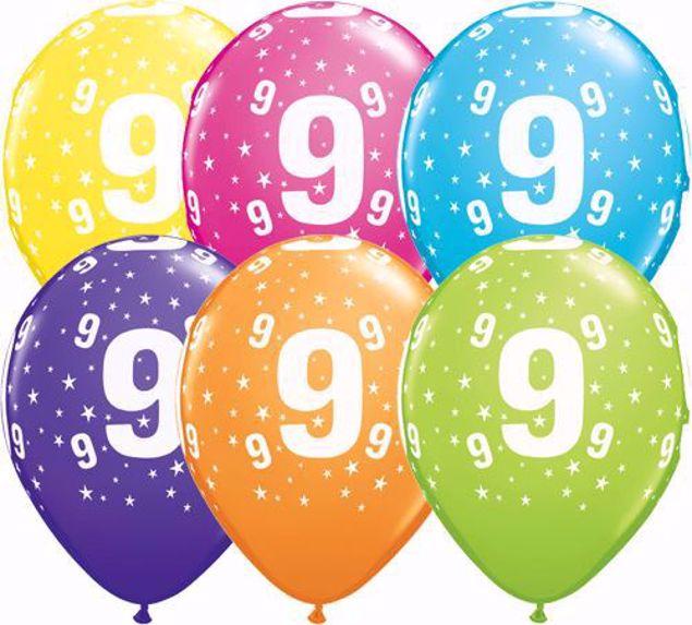 Bild von Latexballon 9 Bunt Geburtstag 11 inch