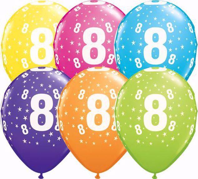 Bild von Latexballon 8 Bunt Geburtstag 11 inch