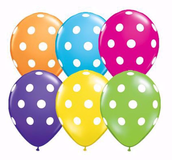 Picture of Latexballon Polka Dots Bunt Geburtstag 11 inch