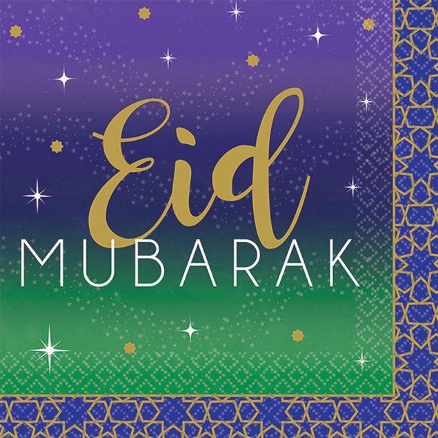 Bild von Servietten Eid Mubarak Ramadan Blau Gold 25cm x 25cm