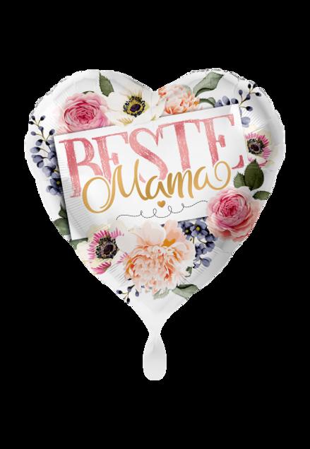 Picture of Mama du bist die Beste Muttertag Folienballon Herz Blumen 45 cm