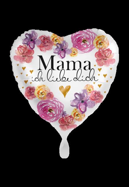 Picture of Mama ich liebe dich Muttertag Blumen Folienballon 45 cm
