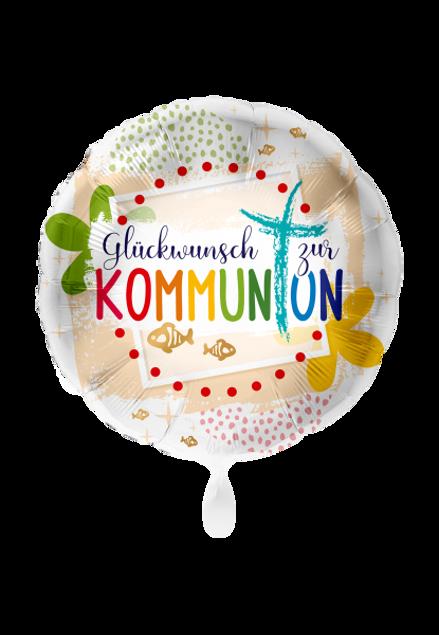 Picture of Kommunion Glückwunsch Kreuz rund Folienballon 45 cm