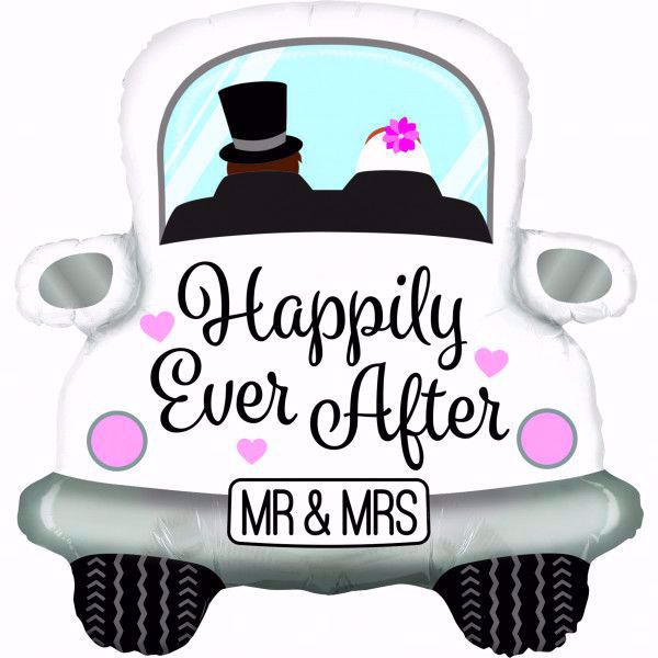 """Picture of Folienballon Hochzeitsauto """"Happily ever after"""""""