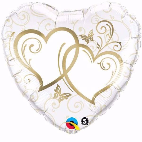Picture of Folienballon Hochzeit 2 Herzen Qualatex 18 inch Weiß Gold