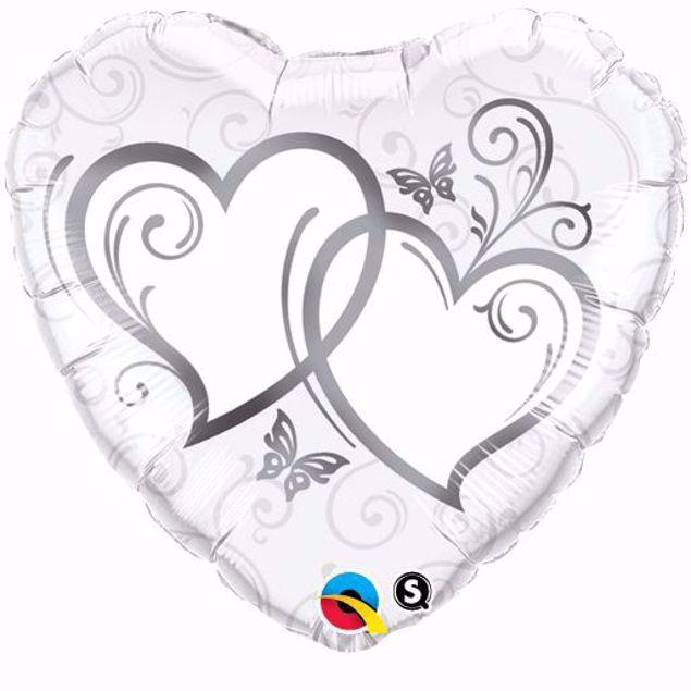 Picture of Folienballon Hochzeit 2 Herzen Weiß Silber